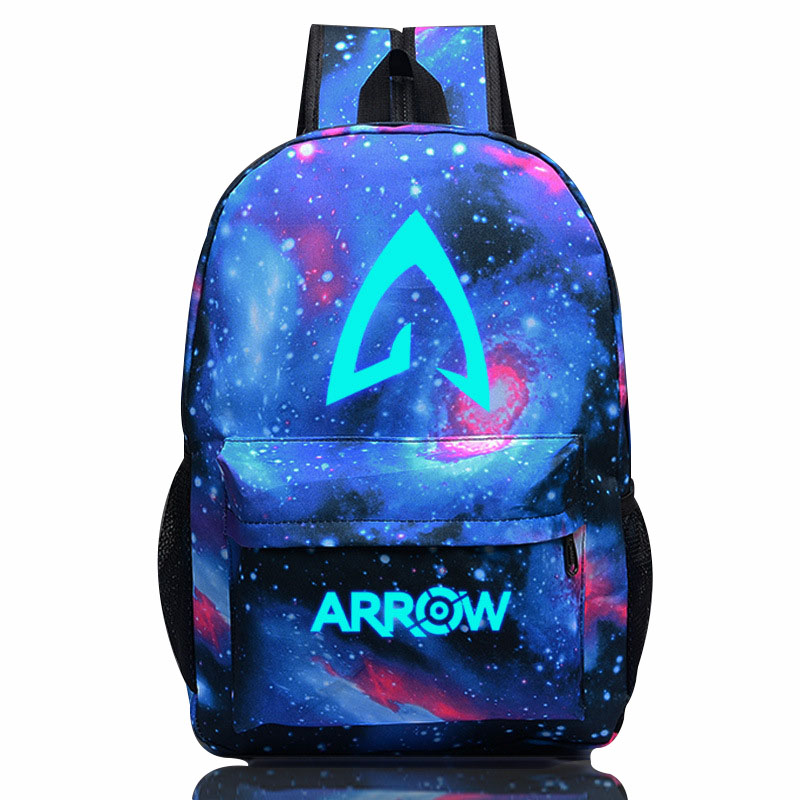 2018 Avengers Arrow Men's Backpack 18'' Casual Luminous Printing Large Capacity Travel Rucksack Teenagers Schoolbag