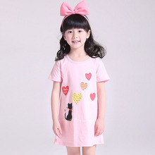Girls Princess Nightgowns Summer Short Sleeve Flowers Cartoon Nightdress Girl Pajamas Sleepwear Children Kids Nightgown Dresses