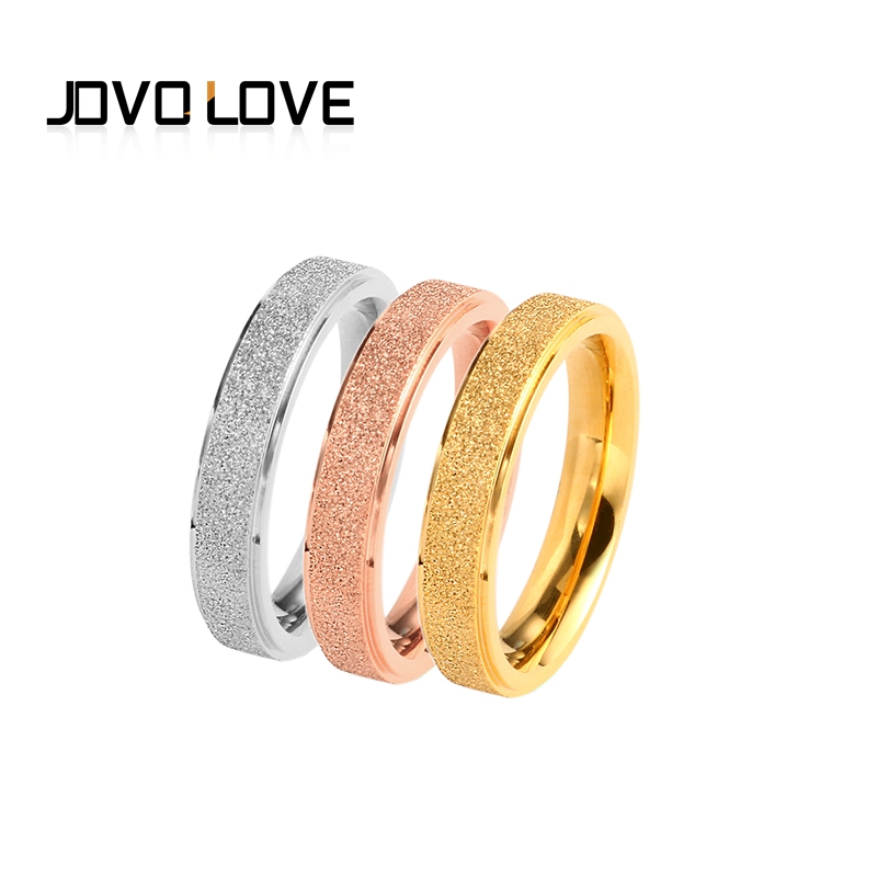 JOVO 3pcs/set Fashion Simple Finger Ring for Women Female Stainless Steel Rings Female Wedding Bands Gold/Silver/Rose Gold
