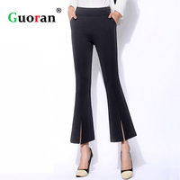 Guoran Split Flared Pants For Women High Waist White Black Female Fashion Trousers Plus Size