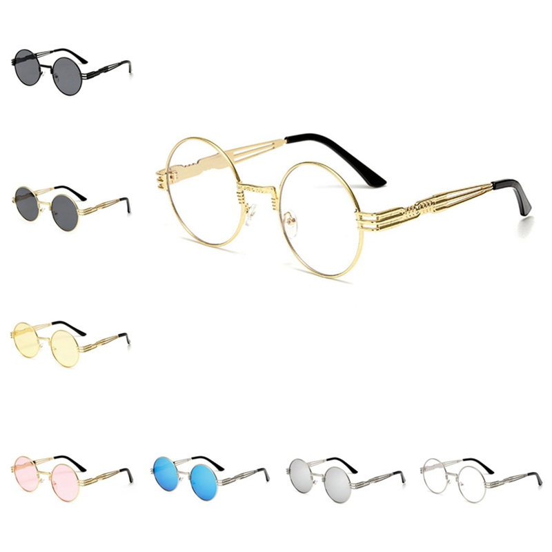 Gothic Steampunk Sunglasses Men Women Metal Wrapeyeglasses Round Shades Brand Designer Sun Glasses Mirror  High Quality