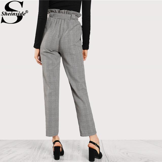 High Waist Tapered Pants Elastic Waist Frilled Tie Waist Belt Plaid Pants Women OL Style Work Trousers