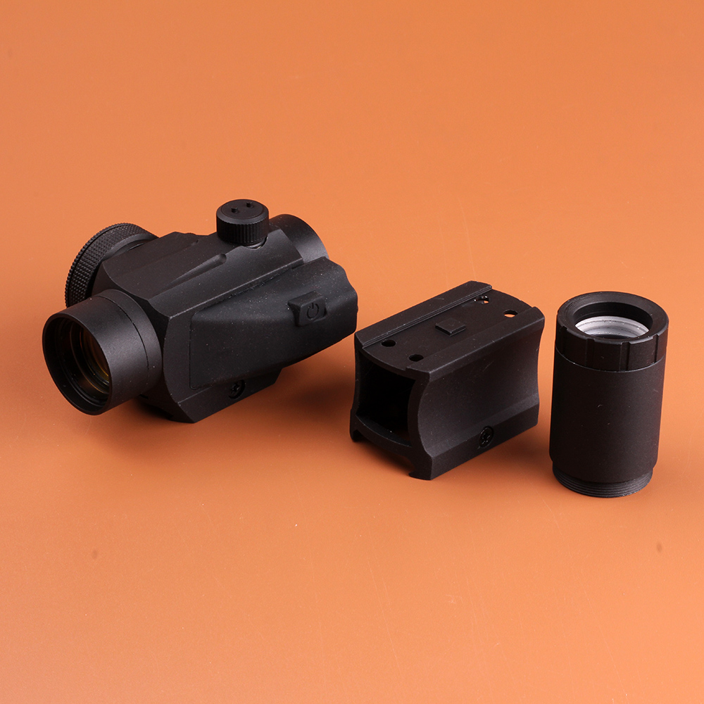 Hunting Accessories Tactical Red Dot Sight 1x 25mm 2 MOA Dot Scope with 2X Doubler Lens and Weaver-Style Mount Matte