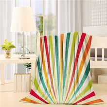 Vintage Multicolor Lines Rising over Sun and Rainbow on Retro Background Festival Graphic Flannel Throw Blanket Lightweight(China)