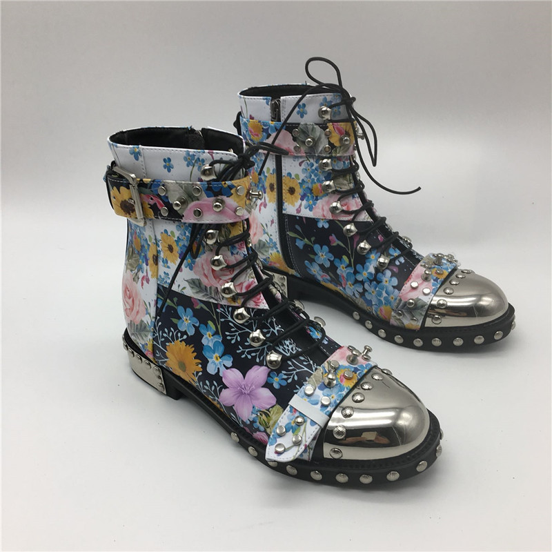 Punk-Style-Colorful-Printed-Color-Motorcycle-Boots-Studded-Buckle-Cross-tied-Metal-Decor-Rivet-Ankle-Boots (4)