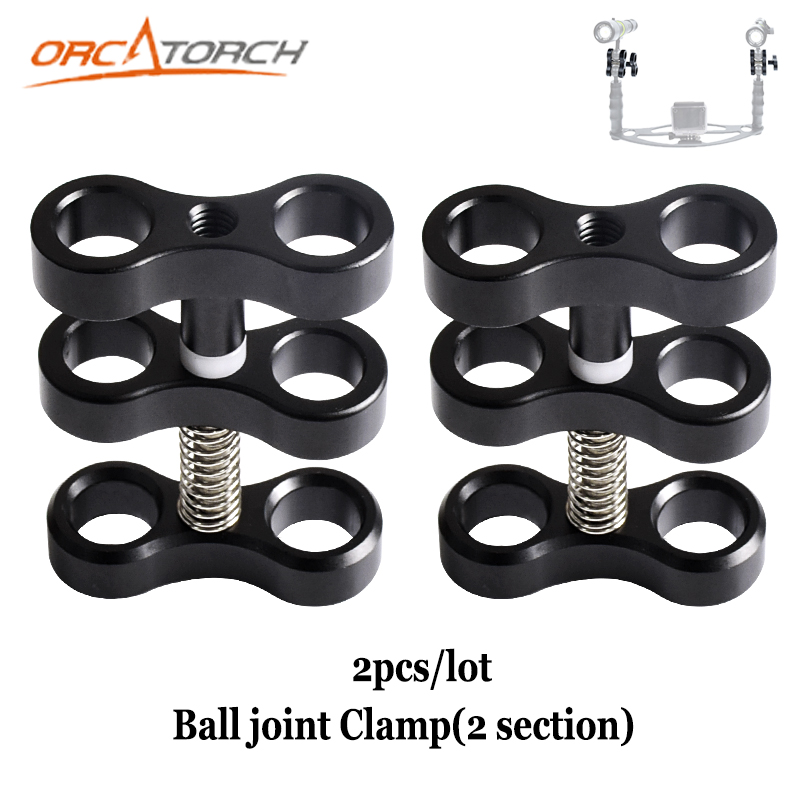2PCS LOT Aluminum Ball Joint Arms 2 Section Ball Joint Clamp Fill Light Lamp Holder For