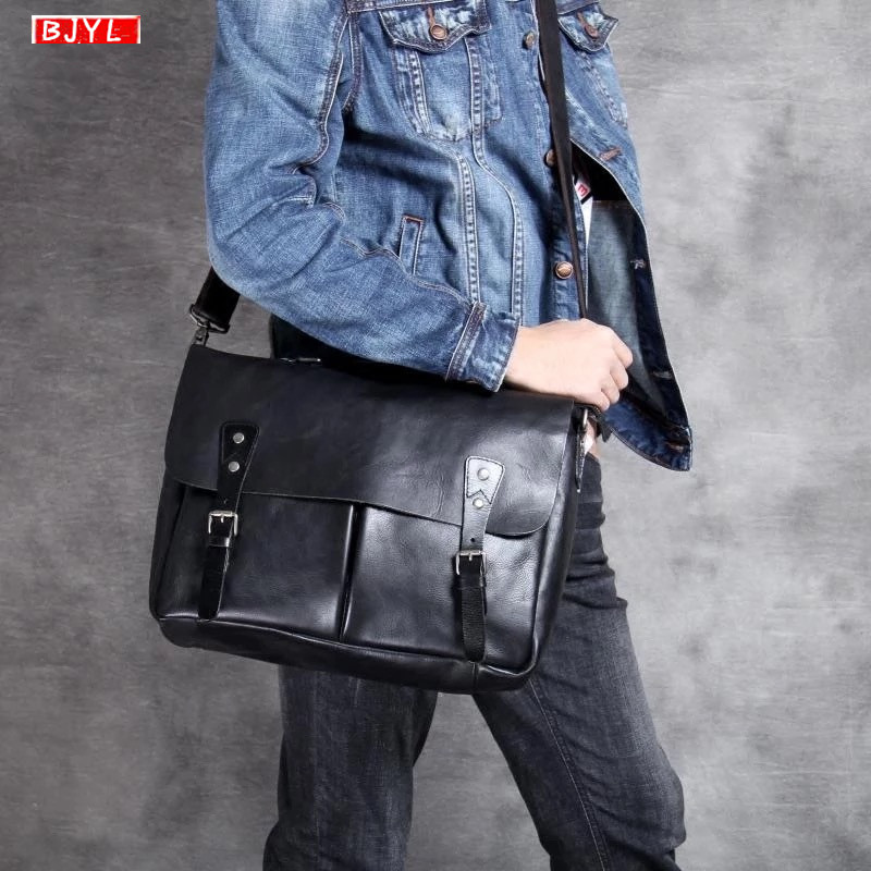 2019 Genuine Leather Casual Men's Briefcase Cross Section Business Laptop Handbag Manual Men Shoulder Diagonal Computer Bag Tide