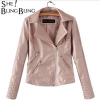 SheBlingBling Gold Motorcycle Jacket Fashion Women Coat Turn Down Collar Short Coat Embossing Slim Tops Ladies PU Overcoat
