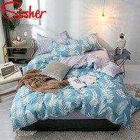 Sisher Bedding Set King Size Leaf Single Double Queen Duvet Cover sets Quilt covers Capas De Edredon blue Bedclothes Bedding set