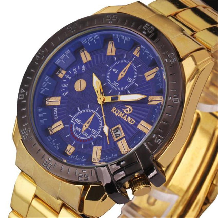 Or et or Rose luxe hommes cadran noir or acier inoxydable calendrier Date Saat Quartz analogique Montre-bracelet Montre Homme