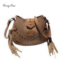 Saddle crossbody bags for womenPU leather tassel shoulder bags female vintage messenger handbags with rivet bolsa feminina