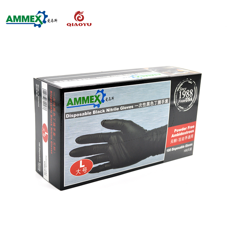 AMMEX disposable black nitrile gloves(powder free) 100 pieces /industrial production Mechanical Maintenance working gloves цена
