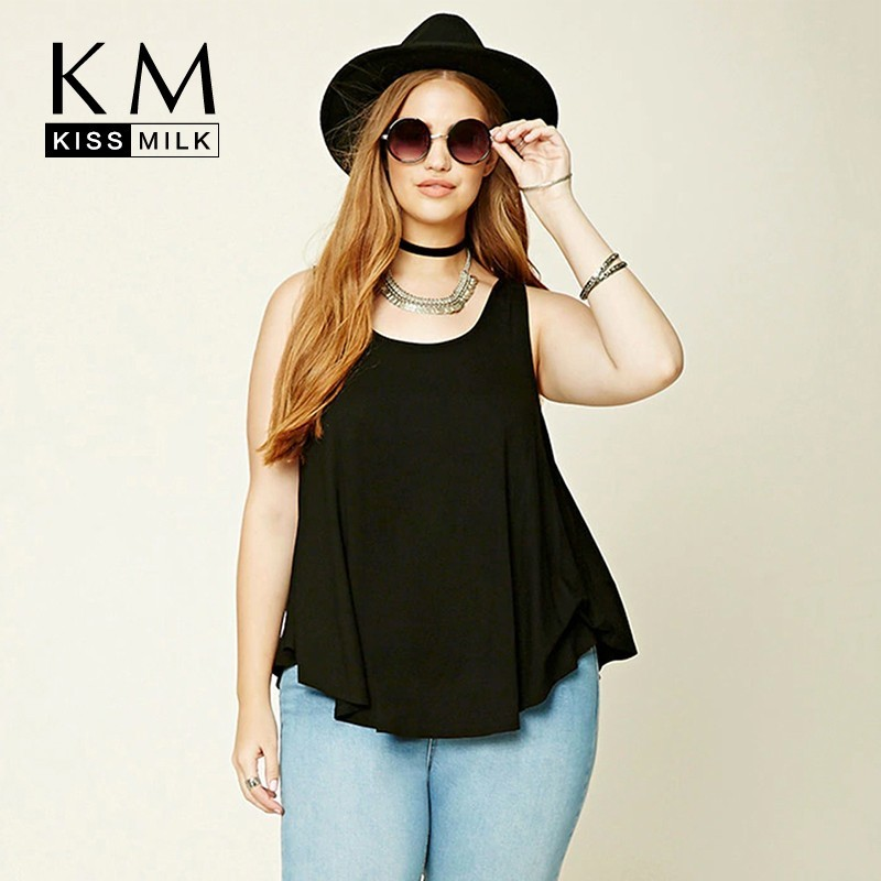 Kissmilk New Arrival  Simple And Stylish Comfortable Collar Sexy Wild Open Back Cross Sleeveless  Large Size Solid Color T-shirt
