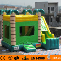 Commercial Tropical Jungle Palm Tree China Inflatable Bouncy Castle with Slide and CE Blower