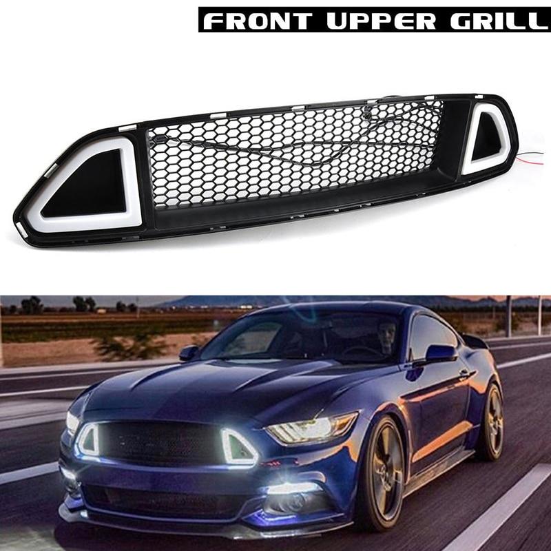 Voiture de Course Grille Pour Ford Mustang Grill 2015-2017 2016 Noir Treillis Radiateur L'avant du Capot Pare-chocs Modifier DRL LED blanc Lumière