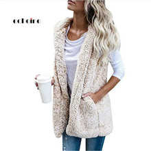 Echoine, Женское пальто, кашемировый жилет, без рукавов, с карманами, с капюшоном, с вырезом, размера плюс, открытая стежка, мягкий теплый жилет, зимняя женская одежда