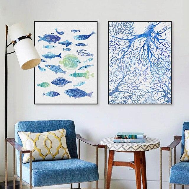 ma geschneiderte moderne abstrakte kunst wandbilder meereslandschaft korallen blauen fisch. Black Bedroom Furniture Sets. Home Design Ideas