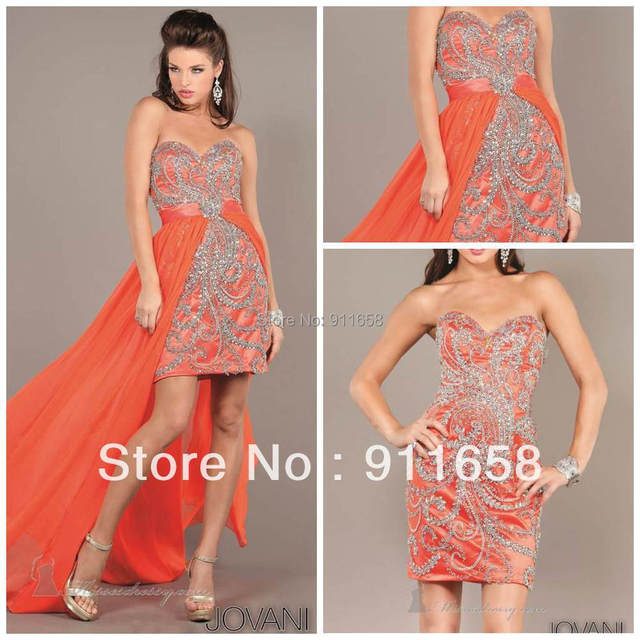 New Collection Orange Sweetheart Sheath High Low Entire Beaded With ...