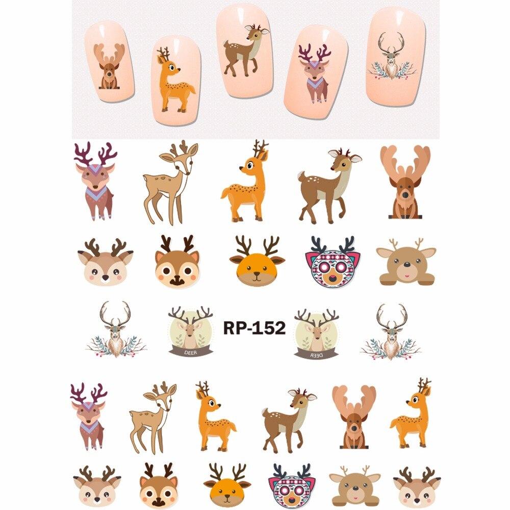 Image 3 - NAIL ART BEAUTY NAIL STICKER WATER DECAL SLIDER CARTOON ANIMAL KOALA DEER PANDA ZEBRA RED FOX RP151 156-in Stickers & Decals from Beauty & Health