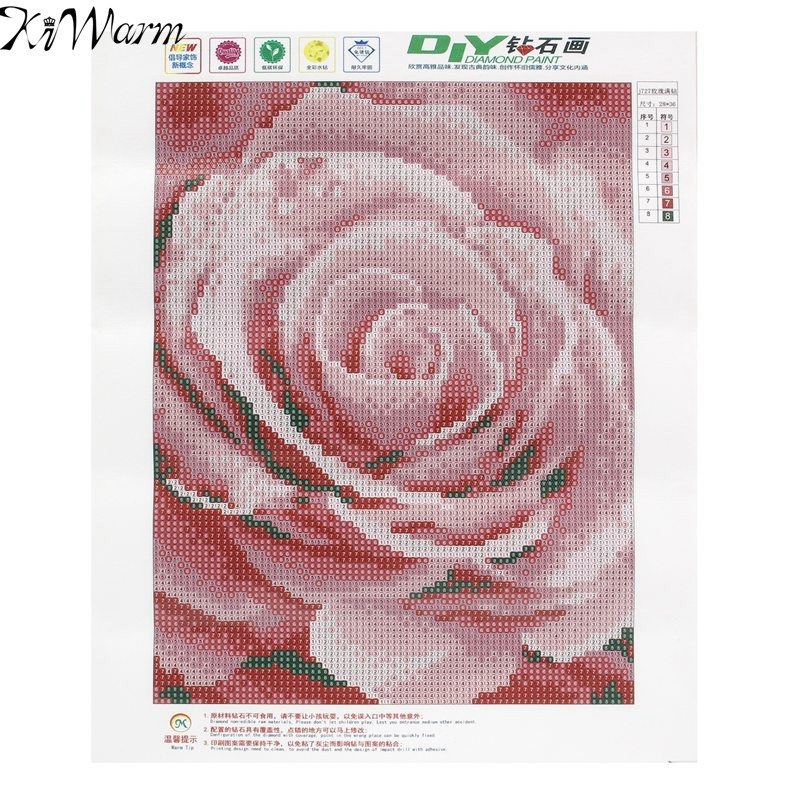 KiWarm Unique 5D Diamond Embroidery Painting Flower Pink <font><b>Rose</b></font> Cross Stitch Decorative Painting Home Decor DIY Handmade Crafts