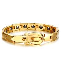 Mens Luxury Gold Plating Bracelets & Bangles Charms Stainless Steel Adjustable Belt Buckle Bracelet For Homme With Black Stone