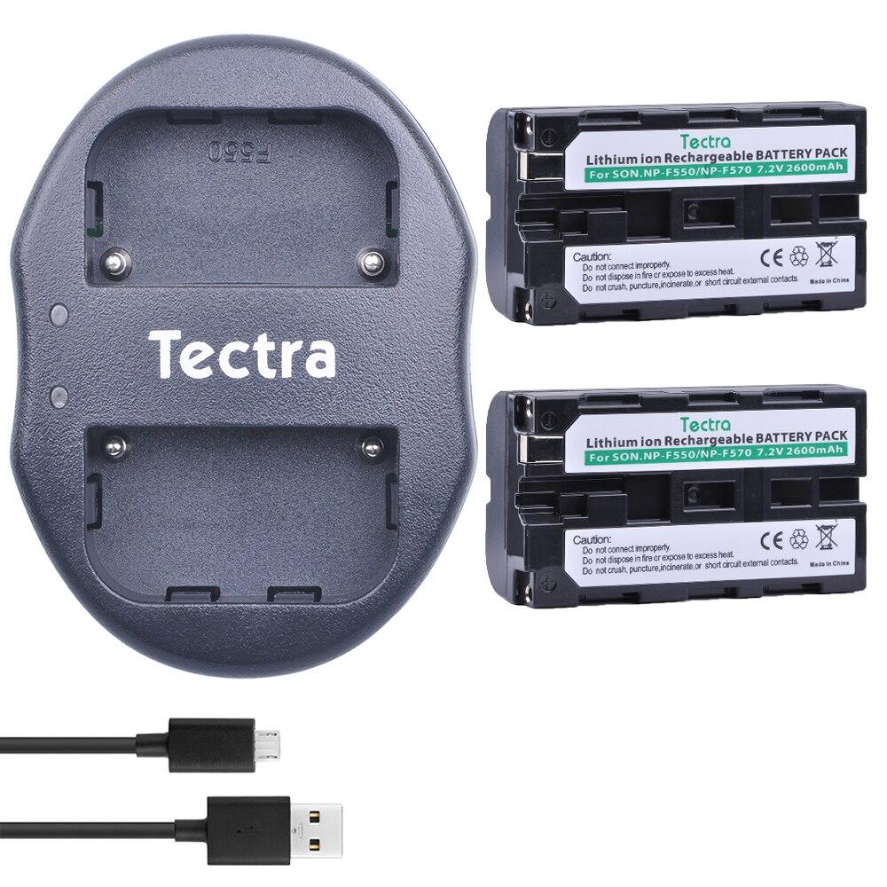 Tectra 2 pcs NP-F550 NP F550 NPF550 NP-F570 batterie Caméra Bateria + USB Double Chargeur pour Sony CCD-SC55 CCD-TRV81 CCD-TR71 batterie