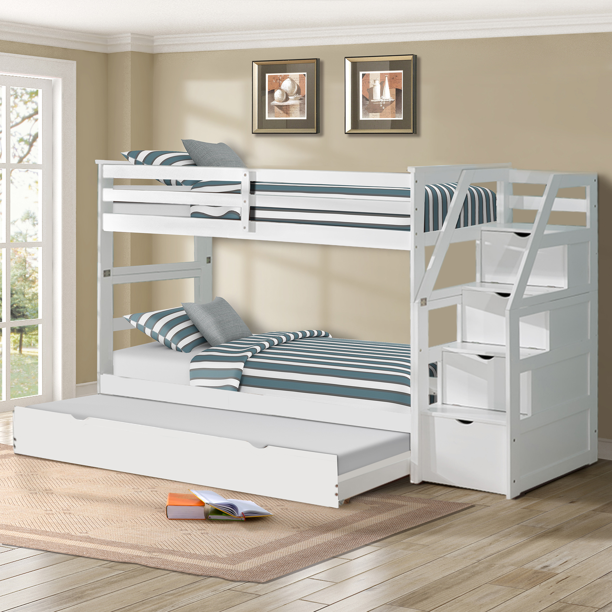 Bunk Beds Twin Over Twin with 4 Drawers in The Steps and a ...