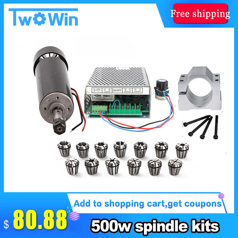 500W cnc spindle air cooled spindle motor 500w 220V power supply / 1set er11 collet spindle 500w For Engraving