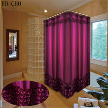 цены на Home Decoration Bathroom Customized Shower Curtain Waterproof Moldproof Polyester Fabric Lace Bath Curtain White and Purple в интернет-магазинах