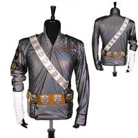 Rare Handmade MJ Michael Jackson BAD Dangerous Jam Laser Jacket Belt Set Performance Gift Imitation Show Music Star Collection