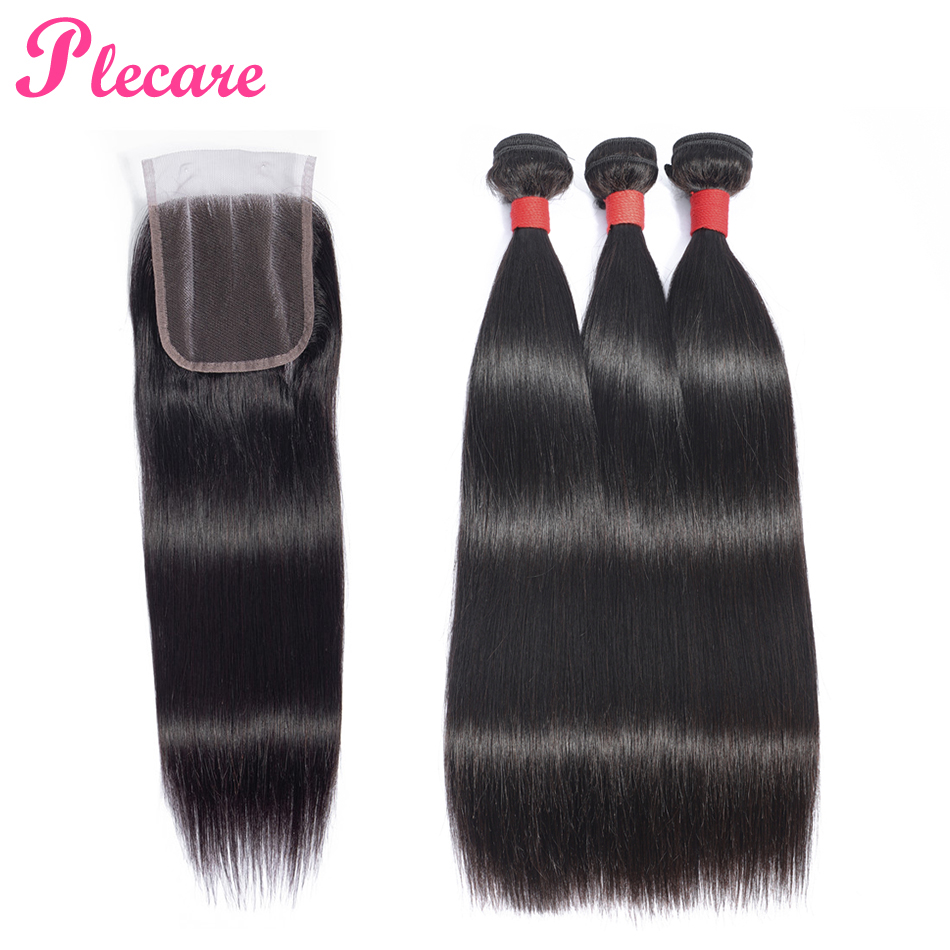 Plecare Straight Hair 3 Bundles With Closure Peruvian 100 Human Hair Weave Bundles With Closure Natural