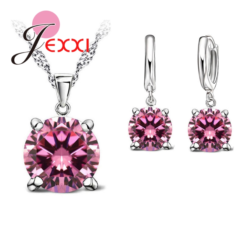 JEXXI 925 Sterling Silver Jewelry Sets 4 Claws Cubic Zirconia CZ Pendant Necklace Earring Fashion Jewelry For Women SET