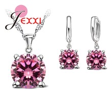 925 Sterling Silver Color Jewelry Sets 4 Claws Cubic Zirconia CZ Pendant Necklace Earring Fashion Jewelry For Women SET(China)