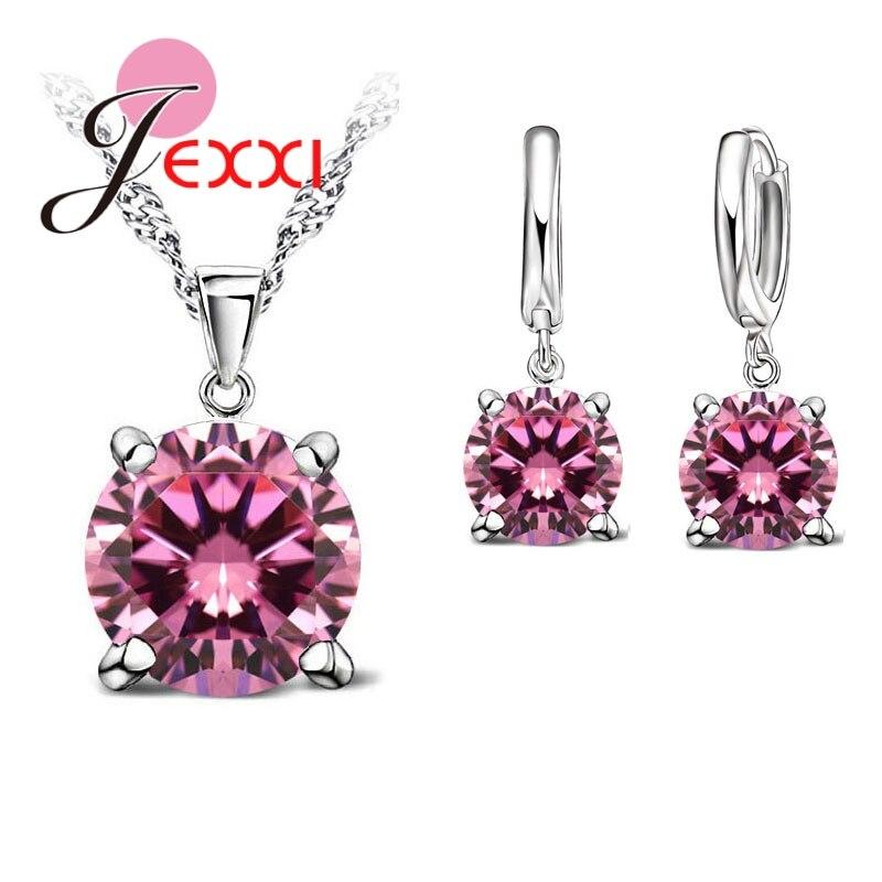 JEXXI 925 juego de joyas de plata de ley 4 Claws Cubic Zirconia CZ colgante collar pendiente joyería de moda para mujer