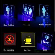 Ac led luz de emergência interior indicador sinal lâmpada homem mulher wc não fumar wifi saída marca café publicidade luz
