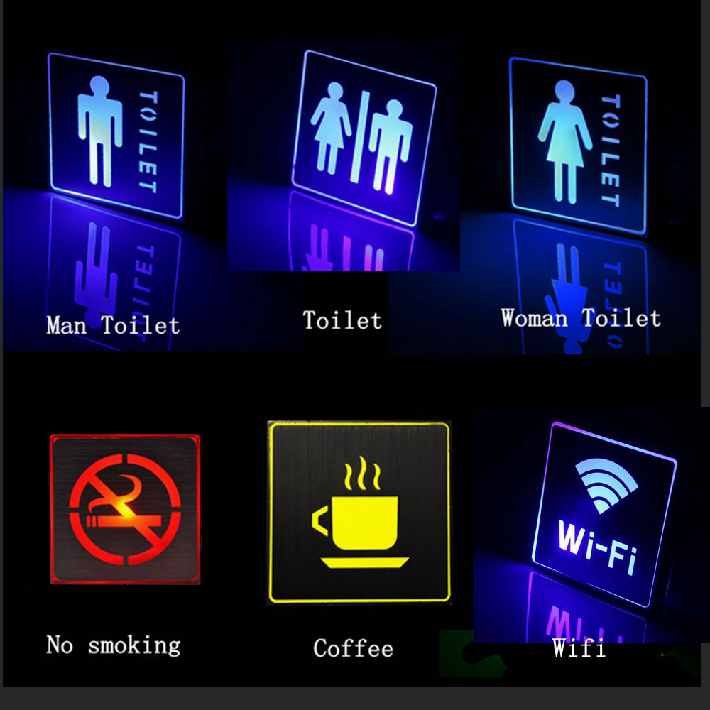 LED Emergency Light For Public Places Area Decor Man Woman Toilet WC Lamp Indoor No Smoking Wifi Exit Sign LED Emergency Lamp
