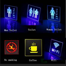 LED emergency Light for Public places area decor Man Woman Toilet WC lamp indoor No Smoking Wifi Exit sign Emergency Lamp