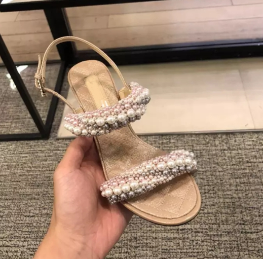 Moraima Snc 2019 New Pearl String Bead Youngs Style Girl Sweet Sandals Open Toe Shoes Women Summer High Heels Dress Pumps ShoesMoraima Snc 2019 New Pearl String Bead Youngs Style Girl Sweet Sandals Open Toe Shoes Women Summer High Heels Dress Pumps Shoes