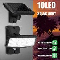 태양 빛 10 led 태양 정원 빛 방수 pir 모션 센서 벽 램프 야외 정원 공원 보안 비상 거리 램프