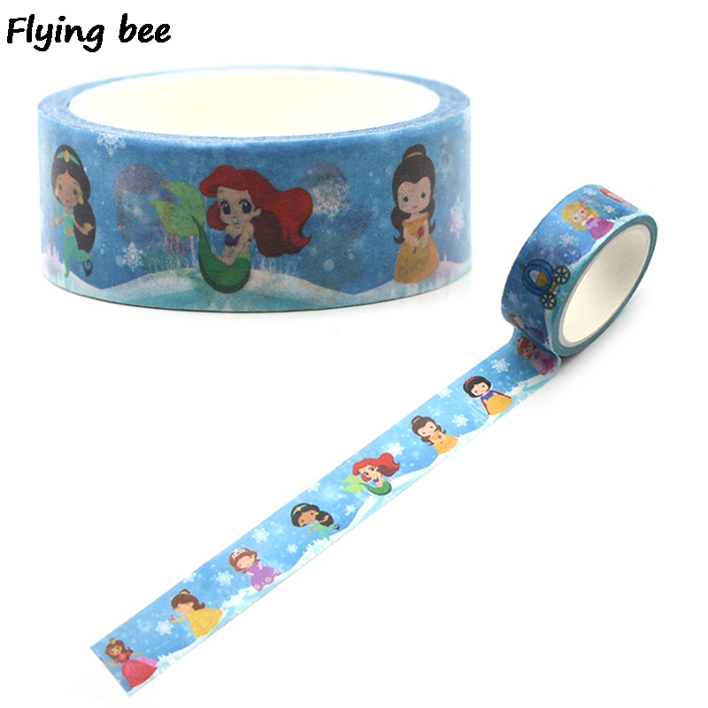 Flyingbee 15mmX5m Underwater World Princess Washi Tape Paper DIY Decorative Adhesive Tape Cute Masking Tapes Supplies X0323