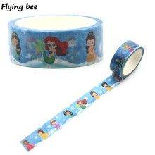 Flyingbee 15mm X 5m Onderwater wereld prinses Washi Tape Papier DIY Decoratieve Plakband leuke Masking Tapes Levert x0323(China)