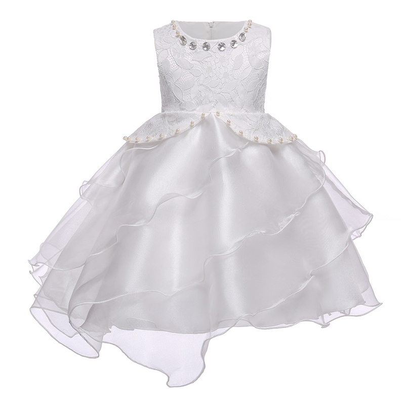 White Lace Flower Wedding Dress Children Evening Ball Gown Girl Clothing for Girl Ceremony Dresses Clothes Kids Party Dress boutique white children graduation ball gown elegant lace bowknot flower girl dress for wedding