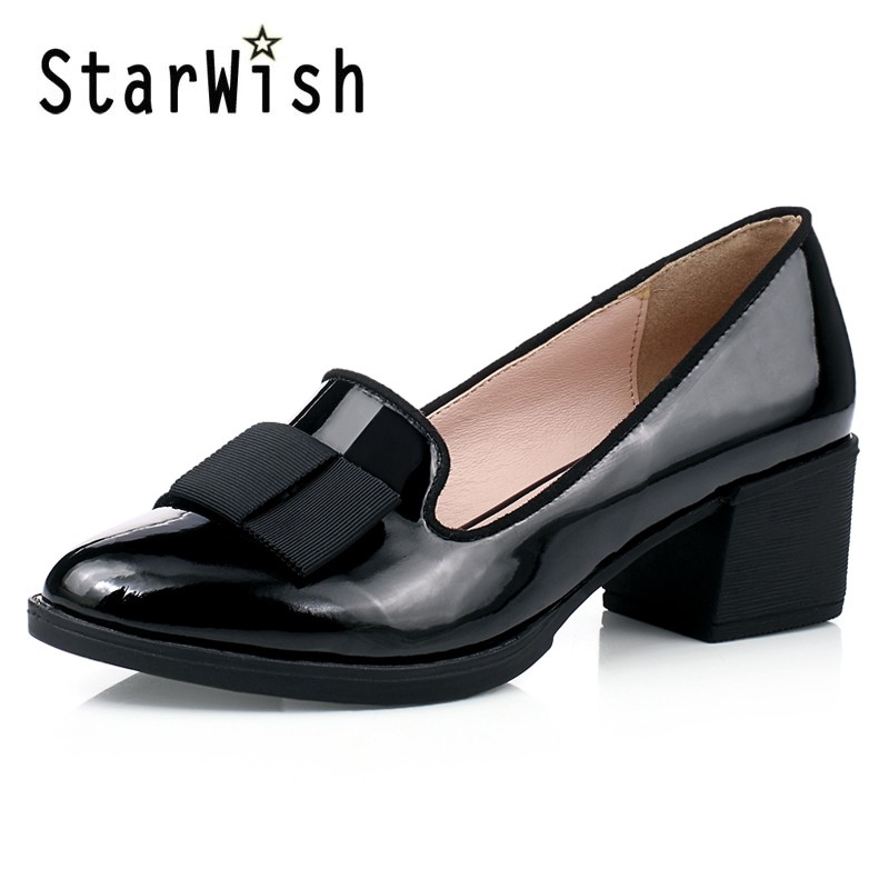 Sweet Bowtie Patent Leather Pumps Round Roe Women\'s Platform Elegant Thick High Heel Shoes Plus Size 34-40 Slip-on High Heels (6)