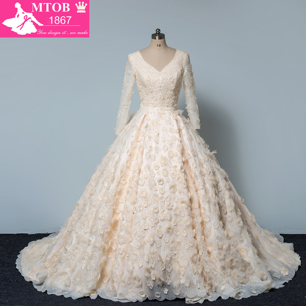 Luxe Brillant Cristaux Perles Robe De Mariage 3D À La Main Fleur V Cou Manches Longues robe de Bal robe de mariage MTOB1606