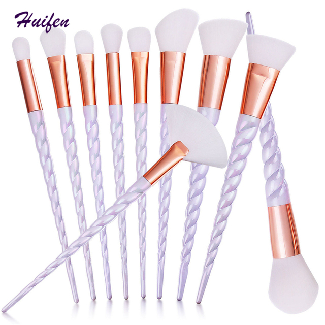 Huifen 10Pcs Unicorn Makeup Brushes Set Contour Powder Foundation Beauty Brush Professional Cosmetics Tools (YY0122)