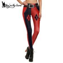[You're My Secret] 2016 Sexy Harley Quinn Super Hero CosPlay Comic Cartoon Deadpool Classic Print leggins Women Leggings Fitness