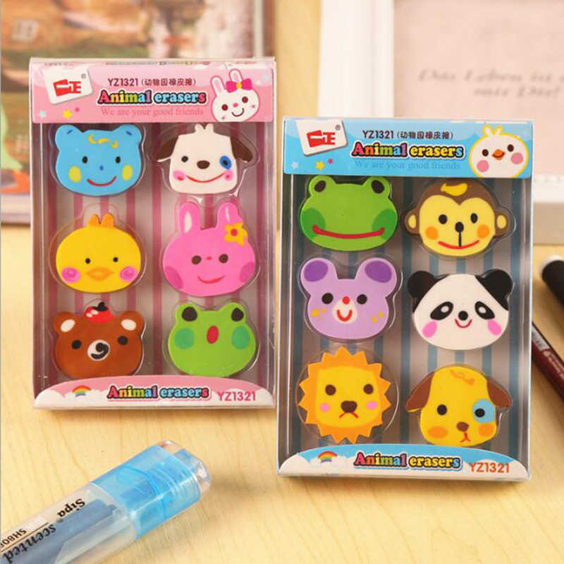 6pcs Kawaii Animal Shape Eraser Cute Cartoon Gift Correction Eraser Child Student Stationery School Office Supplies