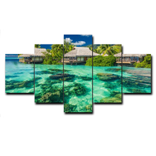 Laeacco Abstract 5 Panel Canvas Calligraphy Painting Natural Posters And Prints Pictures for Living Room Home Decoration