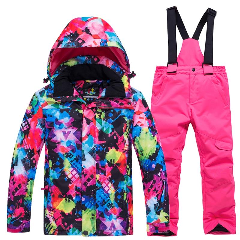 Children's Ski Suit 2018 New Children's Suits Waterproof Windproof Warm -30 Degree Boys Girls Snowboard Jacket + Ski Pants Sets
