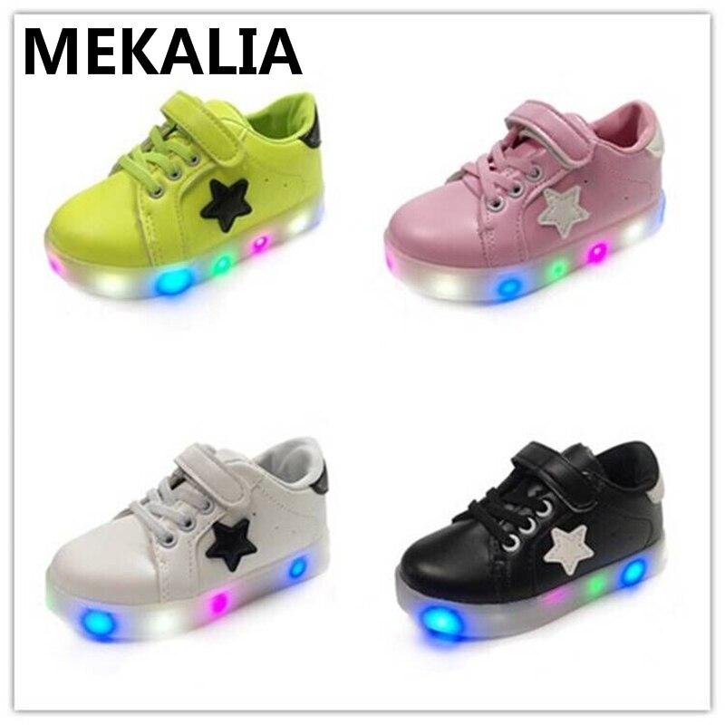 Schuhe kinder leuchtende sneakers PU Flachen boden Atmungs leuchten schuhe led schuhe EU 21-29 jungen schuhe 4 farben Schnell lieferung
